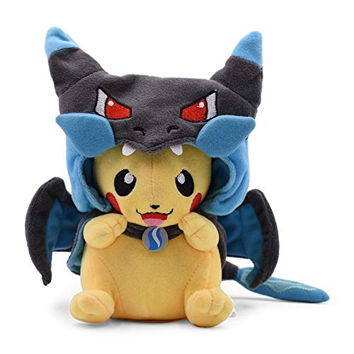 Nat Pikachu Plush Stuffed Animal Toys with Smiley Face and MEGA Charizard 8.5 Poncho and Gifts for Children