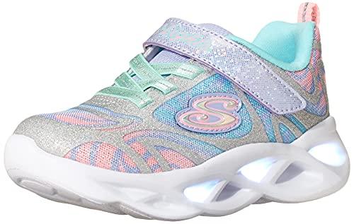 Skechers Kids Girls Sport Footwear, S, Lighted Sneaker, Silver/Multi, 11 Little Kid