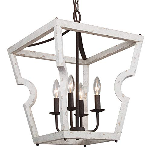 "Lantern Chandelier Farmhouse for Foyer, 16"" Dining Room Lighting Fixtures Hanging for Kitchen Island, Distressed Wood, 4-Light"