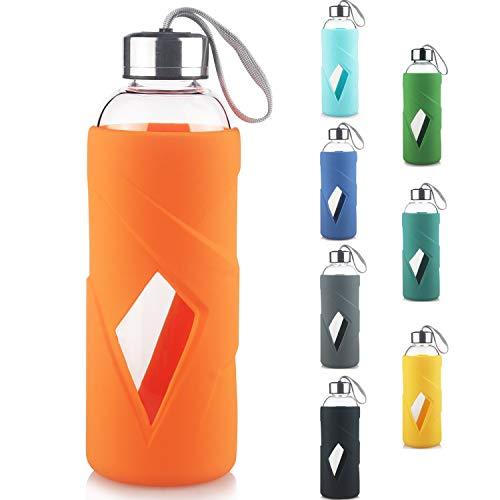 Reeho Borosilikat Trinkflasche Glas Wasserflasche BPA-frei für Sport Glasflasche mit Silikonhülle und Edelstahldeckel 1000ml / 1 Liter