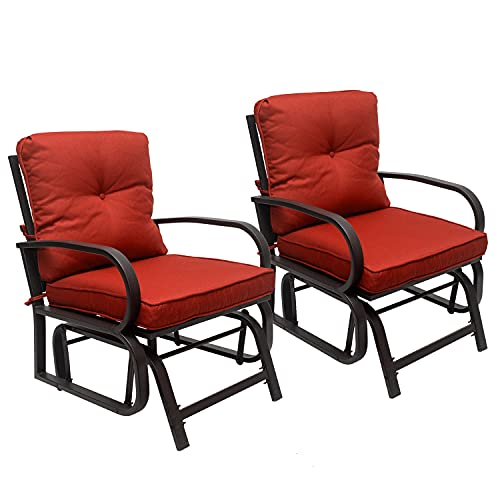 Outdoor Indoor Glider Chair, Patio Glider Chair with Cushions, Swing Porch Rocking Seating, Patio Furniture Chair, Patio Steel Frame Chair for Backyard, Garden, Lawn, Balcony (2PC)
