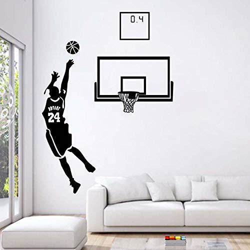 Decoración para el hogar 3D Kobe Pegatinas de pared para niños Habitación autoadhesiva Baloncesto Estrella de baloncesto Calcomanías Sala de estar