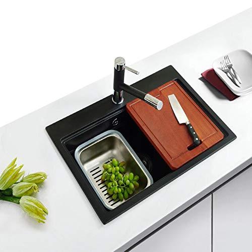 El fregadero de piedra de cuarzo no es fácil de te?ir, gran capacidad, fregadero de granito resistente al desgaste y a los ara?azos, adecuado para cocina, ba?o, hotel