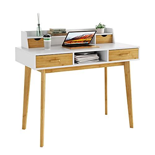 HOMECHO Scrivania Ufficio per Computer Tavolo per Computer Desk, Scrittoio Scrivania Moderna con 4 Cassetti & Lavoro Scaffale Porta, 108 x 50 x 96 cm