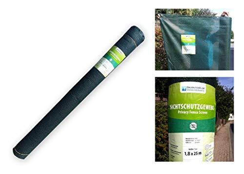 Bauzaun Sichtschutzgewebe grün 150 g/m² - Abmessung: 1,80 m x 50 m (Fertigmaß) - mit 3 Knopflochleisten