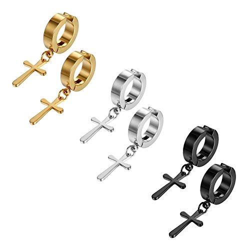 JewelryWe Schmuck 3 Paar Unisex Creolen Ohrringe Edelstahl Kreuz Ohrhänger ohne Loch Fake Ohrstecker Ohrclips Klappcreolen Huggie, Silber Gold Schwarz