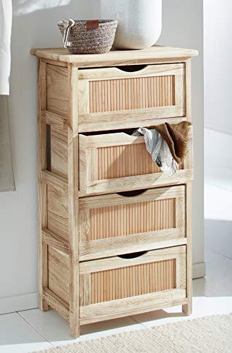 """Schmale Kommode """"Bambus"""", 37 x 27 x 70 cm, aus Paulownia-Holz mit 4 Schubladen, Natur Telefontisch, Schubladenschrank, Flurkommode"""