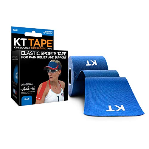 KT Tape Original Cotton Elastic Kinesiology Therapeutic Athletic Tape, 20 Precut 10 inch Strips, Blue, Latex Free, Breathable, Pro & Olympic Choice (KTT-AW-Blue)
