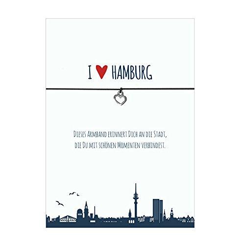 Glücksschmiedin Armband I LOVE HAMBURG mit Herz Anhänger, elastischem Textilband in Schwarz und liebevoller Karte:Dieses Armband erinnert dich an die Stadt.