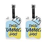 WINCAN Etiquetas de Equipaje (variadas,2PK),Texto de Plantilla de Banner de Verano de Estilo Memphis,Etiqueta de Equipaje para Equipaje,Mochilas Etiquetas de Maleta
