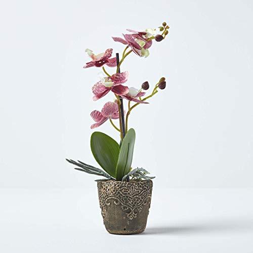 Homescapes künstliche rosa Orchidee im dunkelgrauen Keramik Topf mit verspieltem Muster, kleine Kunstblume ca. 33 cm hoch, ideal als Dekoration für Büro, Beistelltisch oder Fensterbank