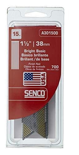 Senco A301500 15-Gauge by 1-1/2-Inch Bright Basic Finish Nails