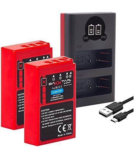 Baxxtar PRO 2X Ersatz für Akku Olympus BLS-5 BLS-50 (echte 1100mAh) mit Infochip und Mini 18802 USB Dual Ladegerät