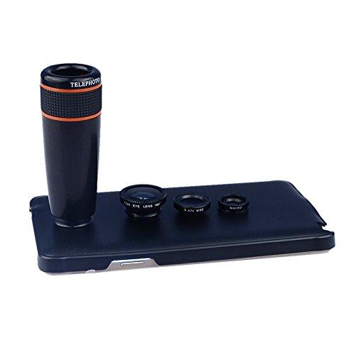Apexel 4-in-1 groothoek Macro Lens Inclusief 8x ABS Telelens met achterklep Case, 12 x telefoto + 3 in 1 lens kit, Zwart, For samsung galaxy S6 edge plus