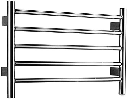 NYZXH Toallero eléctrico de Toalla con calefacción, 304 Radiador de riel de Toalla de Acero Inoxidable con 5 Barras, 57W, para baño, plugin