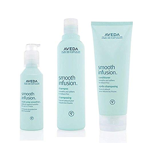 Aveda Trio de shampooing Smooth Infusion 250 ml, après-shampoing 200 ml et lisseur Style Prep Smooth, 100 ml