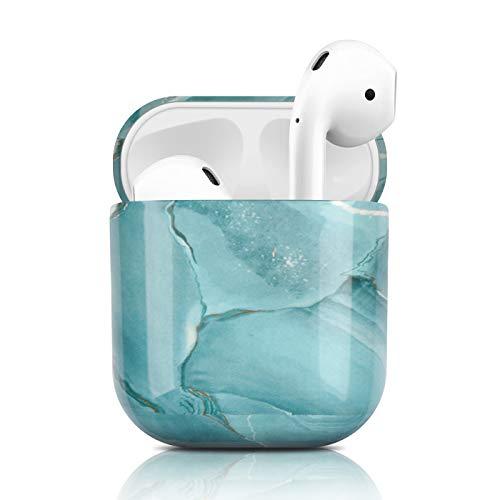 Newseego Kompatibel mit AirPods Hülle, Ultradünnes Marmor Case Vollschutz Hülle Marmor Muster Airpods Tragbare Hülle für Apple AirPods Earpods Ohrhörer-Ladetasche - Grün