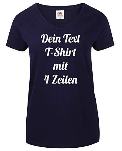Damen T-Shirt V-Auschnitt Bedrucken mit dem Amazon Tshirt Designer. T-Shirt selber gestalten. T-Shirt Druck. T-Shirt mit Wunschtext. T Shirts sind Ökotex-100 Zertifiziert. Dunkelblau M