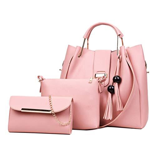 Generic 3Pcs/Set Women's PU Leather Handbag Shoulder Bags Tote Purse Messenger Satchel Pink