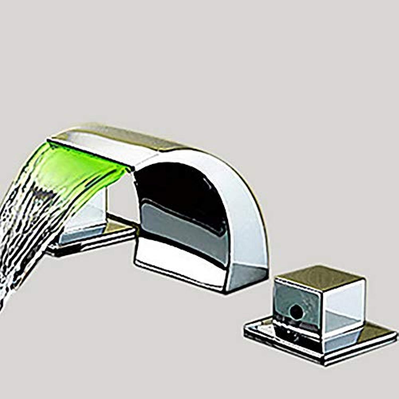 Stark und robustSchne Form Badezimmer Waschbecken Wasserhahn Wasserfall Breite drei Lcher zwei Griffe drei Lcher Badewanne Wasserhahn LED Keramik Ventil Bad Waschbecken Wasserhahn stark und robus