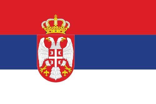 Outdoor Flagge, Banner, Fahne Serbien mit Wappen 90 * 150 cm