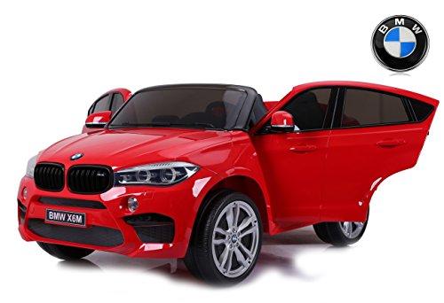 RIRICAR BMW X6 M Macchina Elettrica per Bambini, 2 x 120W, Rosso, Due posti in Pelle, con Licenza Originale, Alimentato a Batteria, sportelli apribili, Freno Elettrico, 2X Motore, Batteria 12V10Ah