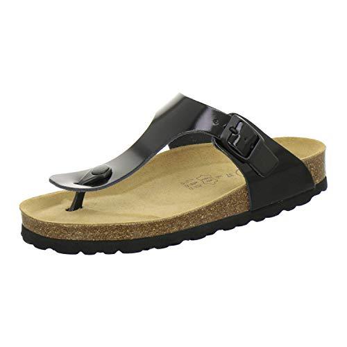 AFS-Schuhe 2107, modische Zehentrenner Damen Sandale aus Leder, Bequeme Pantoletten mit Fussbett Made in Germany (43 EU, schwarz Lack)