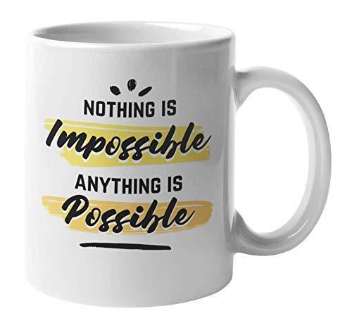 330ml Tazas de té Tazas para espresso Nada imposible Todo posible inspirar Taza bebida café Regalo Vajilla de Agua/Leche para Hogar,Oficina