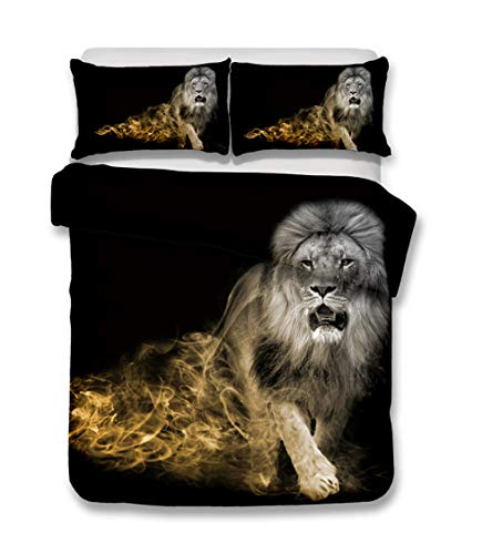 N/S Single bed Duvet Covers Set Animal Lion Brushed Microfiber Bedding Set Bed Duvet Cover with Pillowcases-For Adult Children's Bedroom 53.15 x 82.68 inch