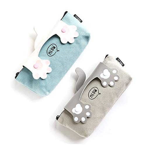 Adorable Meow Canvas Pencil Holder, Kawaii Cat's Claw Pen Case Zipper Pencil Case with Resin Button Grey Canvas Student Pen Pencil Case Cosmetic Makeup Bag(Pack of 2)