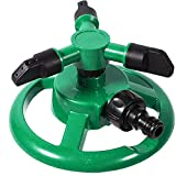 FANDE Irrigatori da Giardino, Irrigatore da Prato, Rotazione Automatica a 360°con 3 Ugelli, Irrigatore Automatico Acqua Irrigatore, per Irrigazione di Giardini e Prati (Verde)