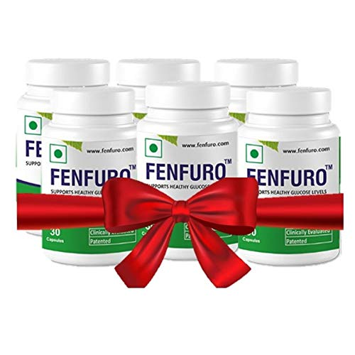 Fenfuro diabetes supplement for healthy blood glucose/blood sugar, patented, clinically evaluated, natural -30 capsules (Pack of 6)