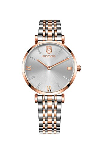 ROCOS Relojes Pulsera Mujer De Cuarzo Analógico Elegante Reloj De Ace