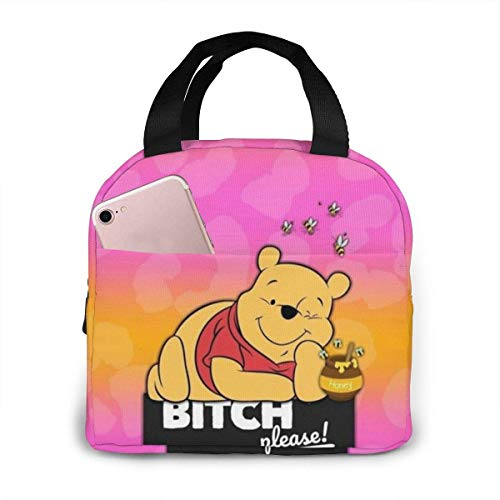 Outdoor Insulated Durable Lunch Box Cooler Box Meal Winnie The Pooh Lunchbox Tote Bag for Woman Man Kids