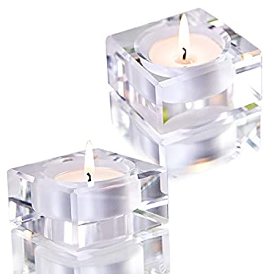 2 Pack Square Tealight Candle Holders Dinner Table Decor for Home from Qf