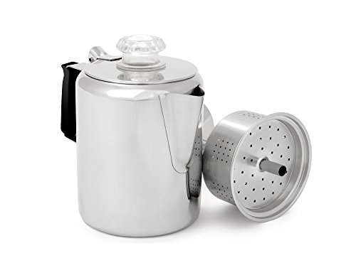 GSI Outdoors Glacier Stainless Steel Percolator Coffee Pot with Silicone Handle for Camping and Backpacking, for Individuals and Groups, Stove Safe, Brushed Stainless, 6 Cup (65206)