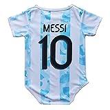 FPF Argentina Home #10 Lionel Messi National Soccer Team Club Cotton Bobysuit Baby Suit for Romper Infant & Toddler (Argentina Home, 18M)