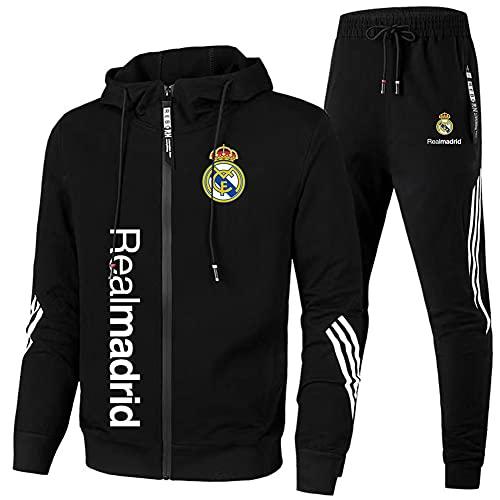 HUISEDIDAI de Los Hombres Chandal Colocar Joing Traje Real-Madrid Encapuchado Cremallera Chaqueta + Pantalones Corriendo Ropa Camisa/Negro / 3XL