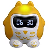 Digital Alarm Clock Raynic Desk Clock with Loud Alarm, Large Numbers, Snooze, Dual USB Charging Ports, Brightness Dimmer, 12/24 Hours, Nightlight for Bedrooms, Kids, Heavy Sleepers, Home (Yellow)