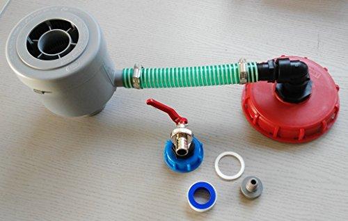CMGG21DK150MK99 Graf Filtre de chute avec tuyau, colliers de serrage, coude, réduction + bouchon à vis 150 mm Robinet à boisseau sphérique avec capuchon à visser S60 x 6 + prise compatible avec les conteneurs Gardena IBC Accessoires de réservoir d'eau de pluie Adaptateur de raccord pour réservoir d'eau de pluie