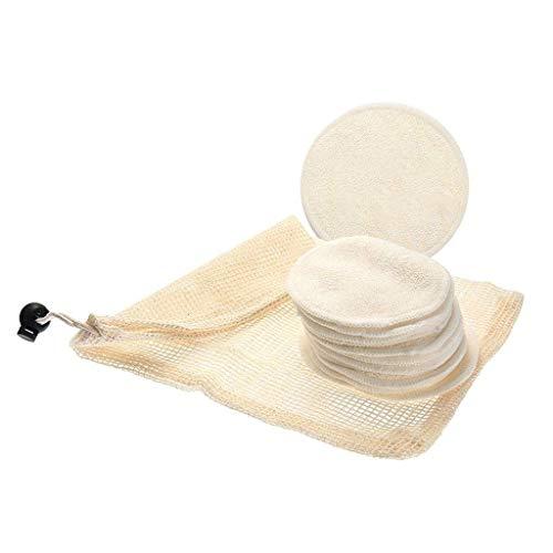 Lomsarsh Tampons démaquillants réutilisables 12Packs - Microfibre pour le visage nettoyants lavables pour le maquillage des yeux Tampons en coton doux et écologique en bambou avec sac