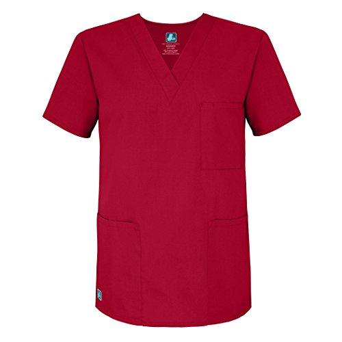 Adar Universal Unisex Scrubs - V-Neck Tunic Scrub Top - 601 - Red - L