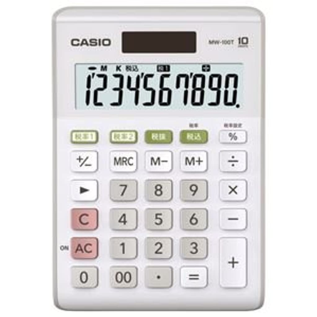 土砂降りに慣れぼかし(まとめ) カシオ CASIO W税率電卓 10桁 ミニジャストタイプ ホワイト MW-100T-W