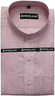 PROLIAN Men's Linen Light Pink Solid Formal Shirt
