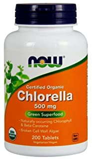 NOW Foods - Chlorella Green Superfood Certified Organic 500 mg. - 200 Tablets (Multi-Pack)