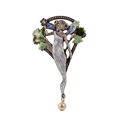 Broche de Mujer Hada Arte Modernista Stile Alfiler Esmalte Perla 5,5 x 3,5 cm