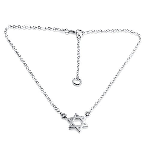 Azaggi 925 Sterling Silver Anklet Star of David Pendant Ankle Foot Chain Ankle Bracelet Charm Jewish Religious Symbol.This Ankle Bracelet is The Perfect Holiday Jewelry Gift for Women Girls