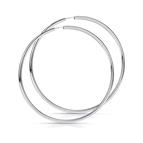 MATERIA 925 Silber Creolen groß - Teenager Damen Ohrringe Ringe XXL Modeschmuck 80mm in Etui SO-90