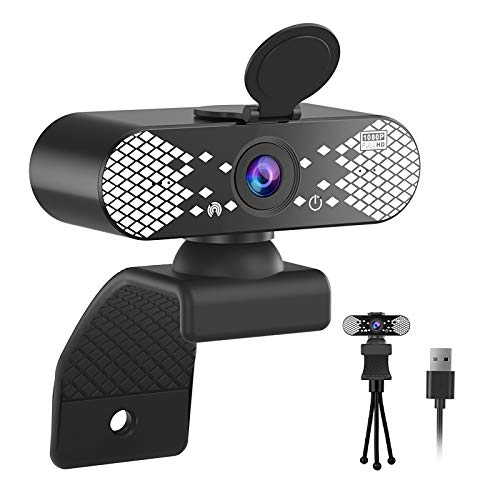 Webcam with Microphone, 1080P HD Webcam & Privacy Cover, USB Plug and Play Laptop PC Desktop Web Camera