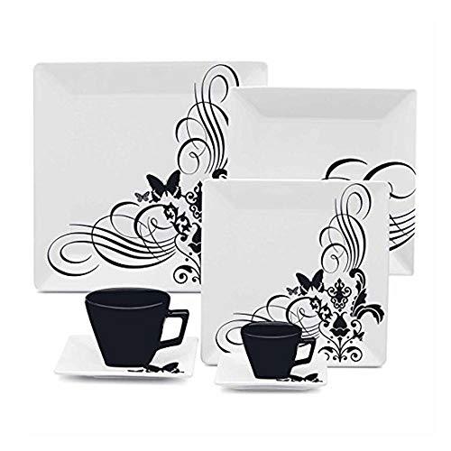 Aparelho de Jantar, Chá e Café 42 Peças Porcelana Quartier Tatoo Oxford - OXF 096